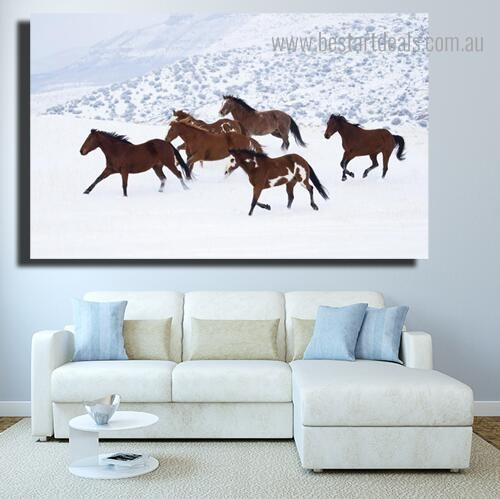 Six Steed Animal Nature Modern Framed Painting Picture Canvas Print for Room Wall Decoration