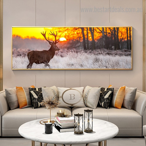Forest Sunset Landscape Nature Modern Framed Painting Photograph Canvas Print for Room Wall Ornament