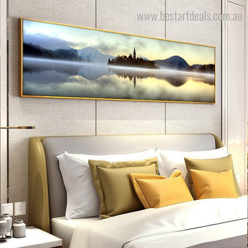 Island in Lake Landscape Nature Modern Framed Painting Photo Canvas Print for Room Wall Adornment