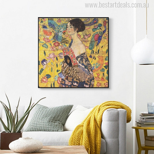 Lady With A Fan Painting Print for Wall Decor