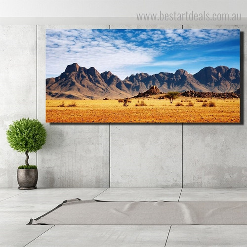 African Savanna Landscape Modern Framed Painting Photograph Canvas Print for Room Wall Adornment