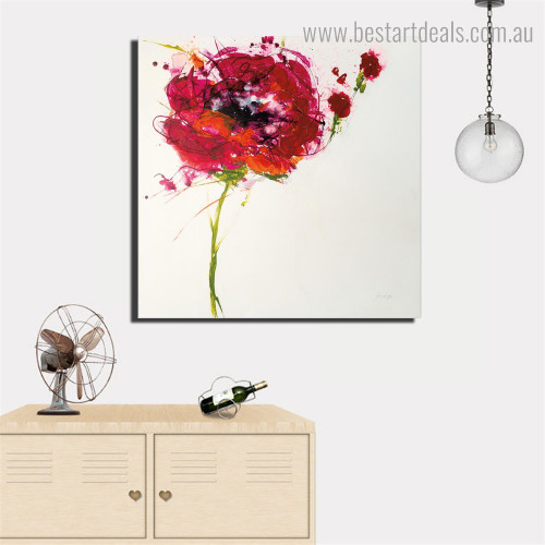 Red Floret Abstract Floral Framed Smudge Photo Canvas Print for Room Wall Decor