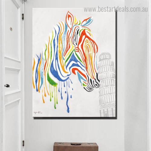 Zebra Tower Abstract Animal Modern Framed Painting Image Canvas Print for Room Wall Disposition
