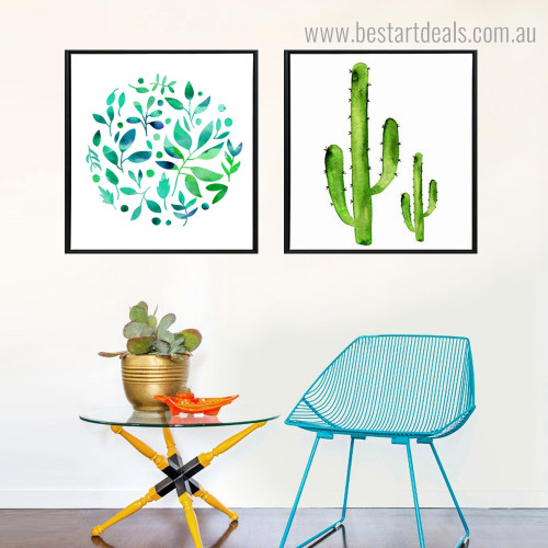 Cactus and Leaves Botanical Modern Framed Painting Photo Canvas Print for Room Wall Assortment