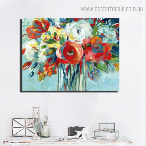 Colorific Blooms Abstract Modern Framed Artwork Photo Canvas Print for Room Wall Disposition