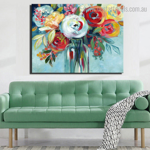 Chromatic Florets Abstract Modern Framed Painting Picture Canvas Print for Room Wall Decoration