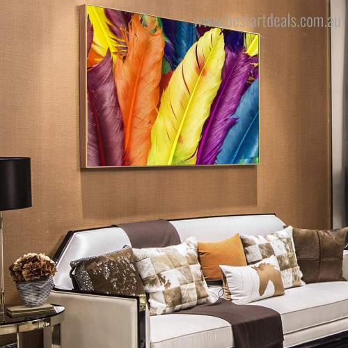 Varicolored Wings Abstract Modern Framed Painting Photo Canvas Print for Room Wall Tracery