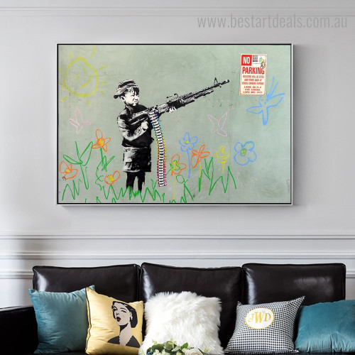 Gun Boy Abstract Graffiti Framed Artwork Portrait Canvas Print for Room Wall Decor