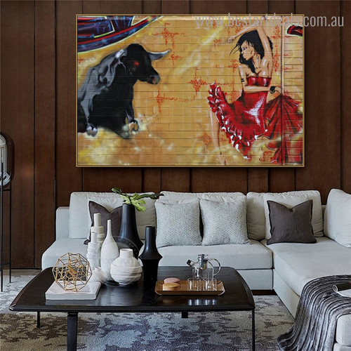 Dancer and Bull Abstract Graffiti Framed Painting Image Canvas Print for Room Wall Ornamentation