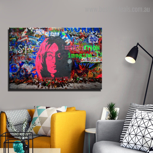 Pink Face Abstract Graffiti Framed Painting Image Canvas Print for Room Wall Outfit