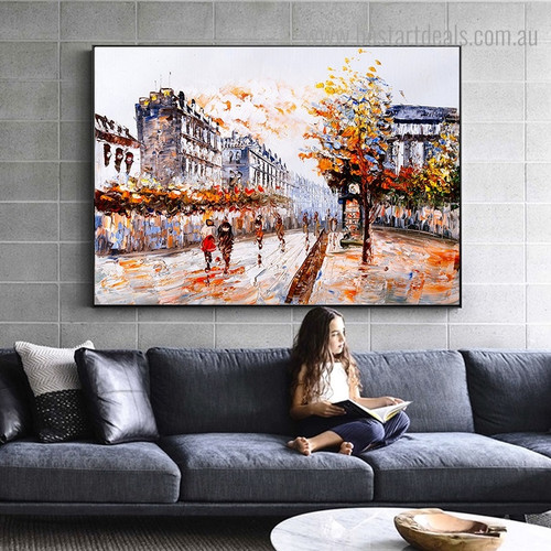 Paris Street Abstract Modern Framed Painting Picture Canvas Print for Room Wall Flourish