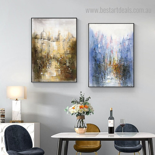 Blue Black Abstract Modern Framed Artwork Image Canvas Print for Room Wall Decor