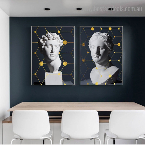 David Statues Abstract Nordic Framed Artwork Picture Canvas Print for Room Wall Adornment