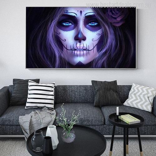 Skull Women Cross Painting Print for Living Room Wall Decor