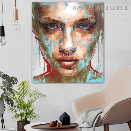 Female Porthole Abstract Modern Framed Artwork Portrait Canvas Print for Room Wall Decoration