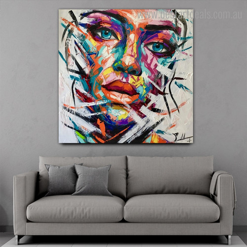 Varicoloured Countenance Abstract Modern Framed Artwork Pic Canvas Print for Room Wall Adornment