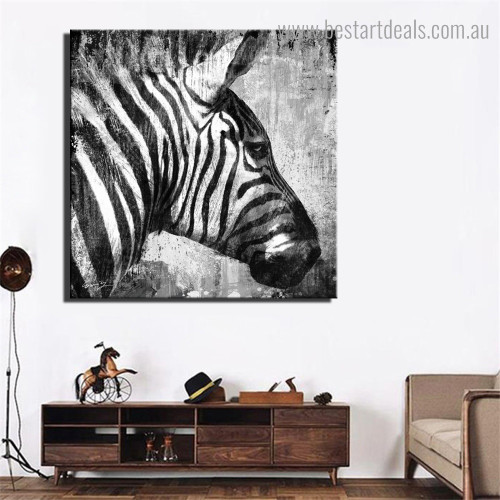 Monochrome Zebra Animal Framed Painting Photo Canvas Print for Room Wall Outfit