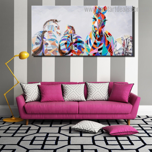 Colorful Zebras Animal Modern Framed Painting Picture Canvas Print for Room Wall Onlay