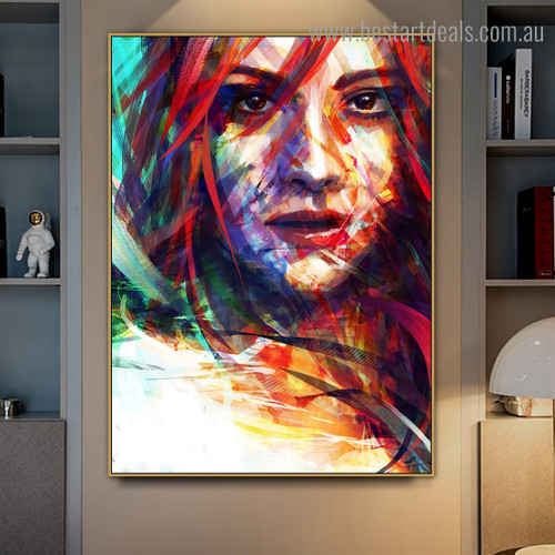 Multicolored Face Abstract Modern Framed Artwork Image Canvas Print for Room Wall Molding
