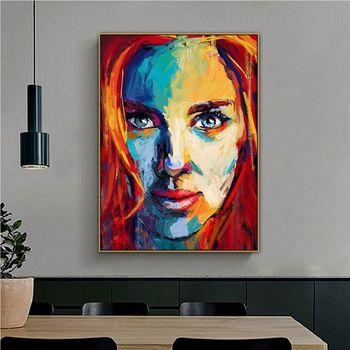 Particoloured Visage Abstract Modern Framed Artwork Portrait Canvas Print for Room Wall Molding