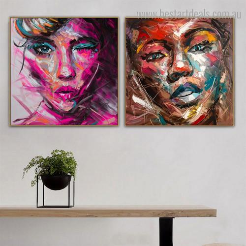 Variegated Portholes Abstract Modern Framed Artwork Portrait Canvas Print for Room Wall Flourish