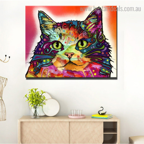 Multicolored Cat Abstract Modern Framed Artwork Pic Canvas Print for Room Wall Flourish