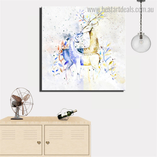 Doe and Deer Abstract Animal Nordic Framed Painting Image Canvas Print for Room Wall Outfit