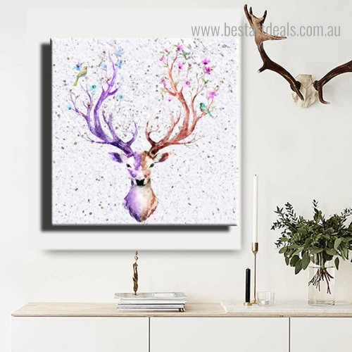 Reindeer Facade Animal Nordic Framed Painting Pic Canvas Print for Room Wall Garniture