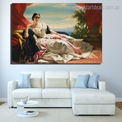 Portrait of Leonilla Reproduction Framed Painting Photo Canvas Print for Room Wall Decoration