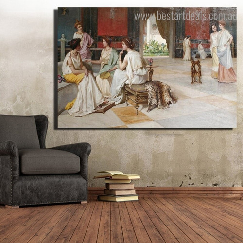 Intrigue Reproduction Framed Painting Pic Canvas Print for Room Wall Finery