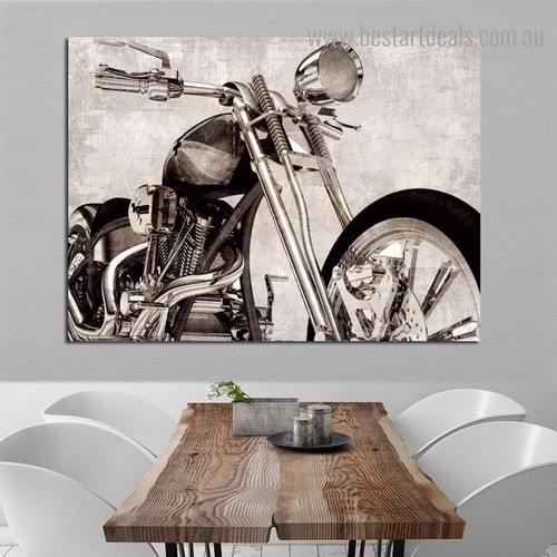 Motorcycle Still Life Framed Painting Photo Canvas Print for Room Wall Decoration