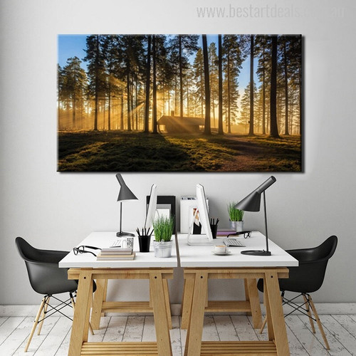 Sunrise Forest Painting Print