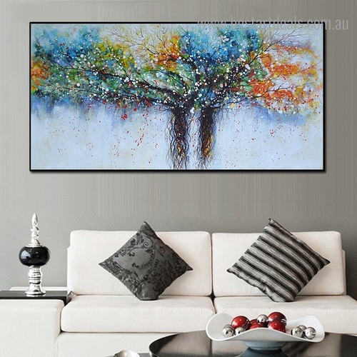 Colorific Trees Abstract Botanical Framed Artwork Portrait Canvas Print for Room Wall Decoration