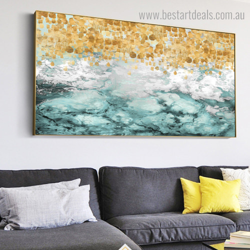 Golden Blemish Abstract Modern Framed Painting Photo Canvas Print for Room Wall Outfit