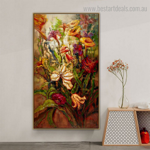 Varicolored Blooms Abstract Impressionist Framed Painting Photo Canvas Print for Room Wall Decor