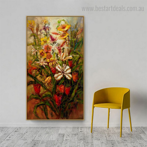 Polychrome Flowers Abstract Impressionist Framed Painting Pic Canvas Print for Room Wall Outfit