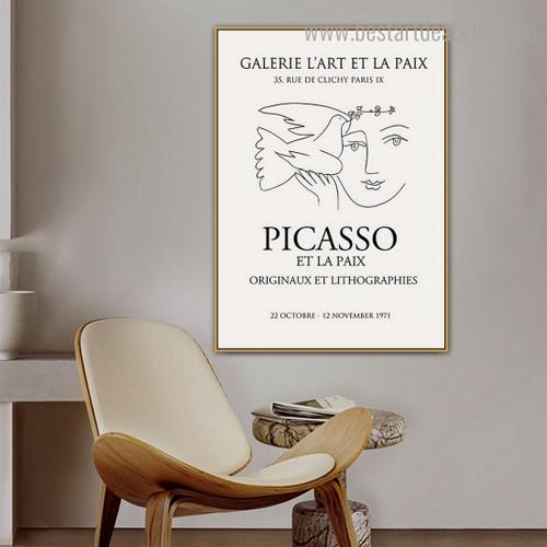Picasso et la Paix Figure Reproduction Framed Painting Portrait Canvas Print for Room Wall Assortment
