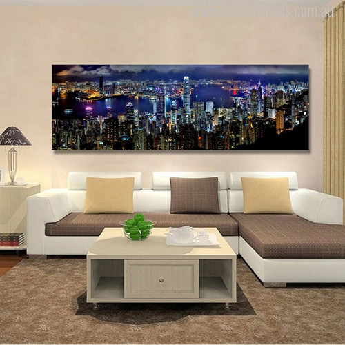 Hong Kong City Night Scene Painting Print