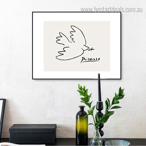 Dove of Peace Bird Reproduction Framed Painting Picture Canvas Print for Room Wall Decoration