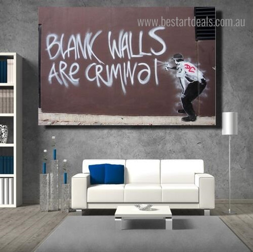 Criminal Abstract Graffiti Framed Artwork Pic Canvas Print for Room Wall Disposition