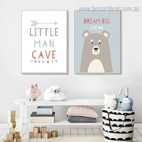 Little Man Kids Quote Framed Painting Pic Canvas Print for Room Wall Outfit