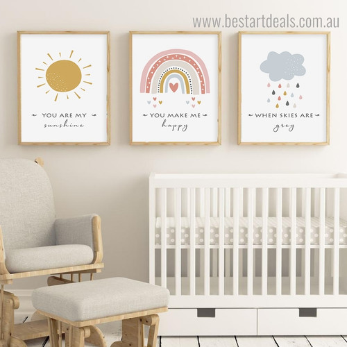Sun Cloud Kids Quote Framed Artwork Picture Canvas Print for Room Wall Onlay