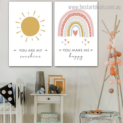 My Sunshine Kids Quote Framed Artwork Image Canvas Print for Room Wall Decoration