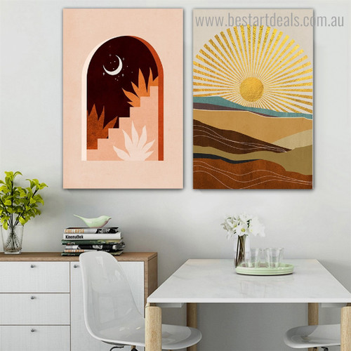 Day Night Abstract Landscape Modern Framed Painting Picture Canvas Print for Room Wall Finery