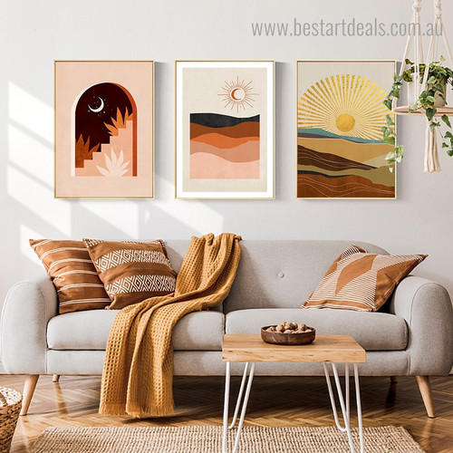Phoebe and Phoebus Abstract Landscape Modern Framed Painting Pic Canvas Print for Room Wall Garnish