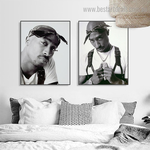 Tupac Shakur Hollywood Figure Framed Artwork Portrait Canvas Print for Room Wall Ornament