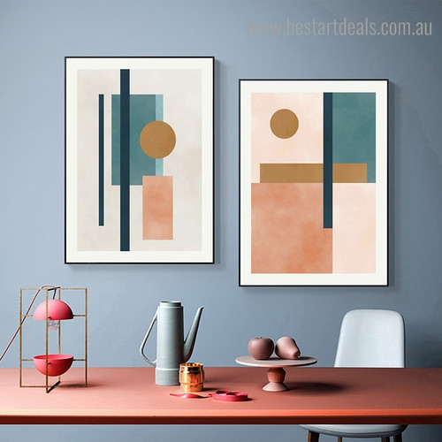 Circle and Lines Abstract Modern Framed Artwork Image Canvas Print for Room Wall Molding