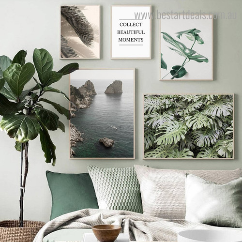 Collect Beautiful Moments Landscape Nordic Framed Artwork Image Canvas Print for Room Wall Finery