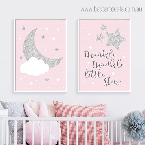 Little Star Kids Quote Framed Artwork Portrait Canvas Print for Room Wall Finery