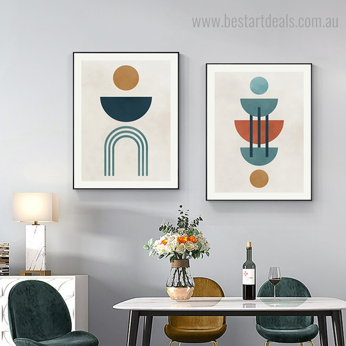 Circular Pattern Abstract Modern Framed Artwork Portrait Canvas Print for Room Wall Decoration